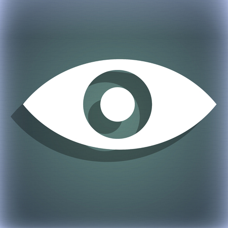 intuition: Eye, Publish content, sixth sense, intuition icon symbol on the blue-green abstract background with shadow and space for your text. illustration