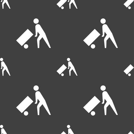 loader: Loader icon sign. Seamless pattern on a gray background. illustration