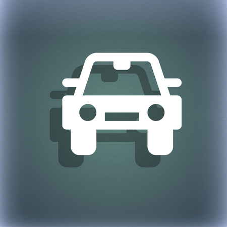 coupe: Auto icon symbol on the blue-green abstract background with shadow and space for your text. illustration