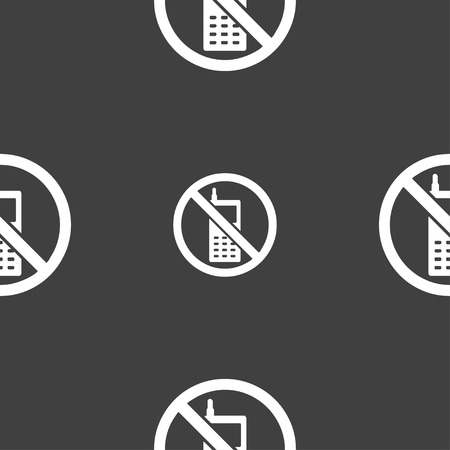 refrain: mobile phone is prohibited icon sign. Seamless pattern on a gray background. illustration Stock Photo
