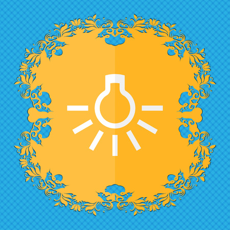 light bulb. Floral flat design on a blue abstract background with place for your text. illustration Stock Photo