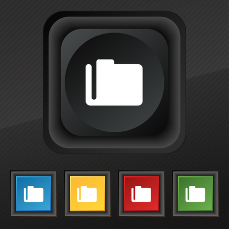 map case: Document folder icon symbol. Set of five colorful, stylish buttons on black texture for your design. illustration
