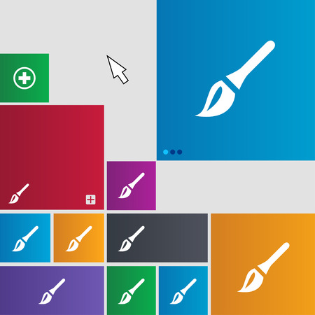 painter decorator: Paint brush, Artist icon sign. Metro style buttons. Modern interface website buttons with cursor pointer. illustration Stock Photo