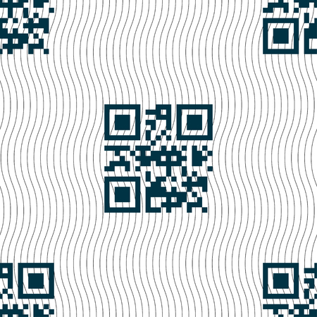 Qr code icon sign. Seamless pattern with geometric texture. illustration Stock Photo