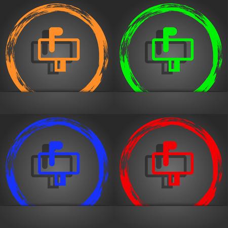 media distribution: Mailbox icon symbol. Fashionable modern style. In the orange, green, blue, green design. illustration Stock Photo