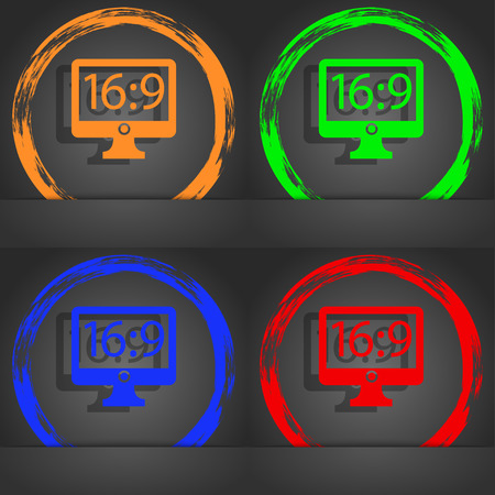 blue widescreen widescreen: Aspect ratio 16:9 widescreen tv icon sign. Fashionable modern style. In the orange, green, blue, red design. illustration Stock Photo