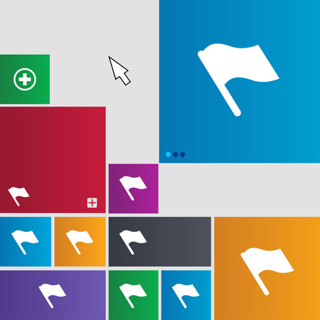 abort: Finish, start flag icon sign. Metro style buttons. Modern interface website buttons with cursor pointer. illustration Stock Photo