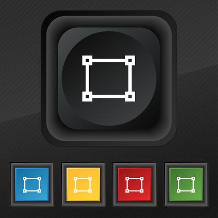 registration mark: Crops and Registration Marks icon symbol. Set of five colorful, stylish buttons on black texture for your design. illustration