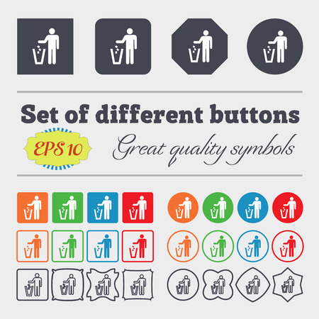 throw away: throw away the trash icon sign. Big set of colorful, diverse, high-quality buttons. illustration Stock Photo