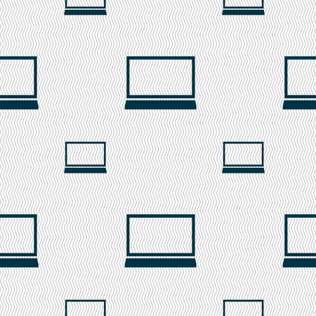 ultrabook: Laptop sign icon. Notebook pc symbol. Seamless pattern with geometric texture. illustration