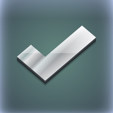 accepted label: Check mark icon symbol. 3D style. Trendy, modern design with space for your text illustration. Raster version