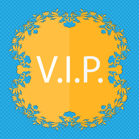 celebrities: Vip sign icon. Membership symbol. Very important person. Floral flat design on a blue abstract background with place for your text. illustration