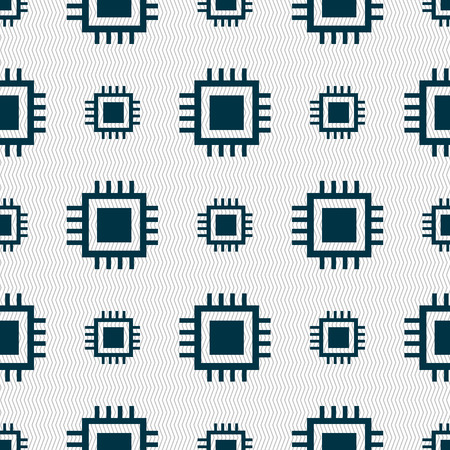 accelerator: Central Processing Unit Icon. Technology scheme circle symbol. Seamless abstract background with geometric shapes. illustration Stock Photo