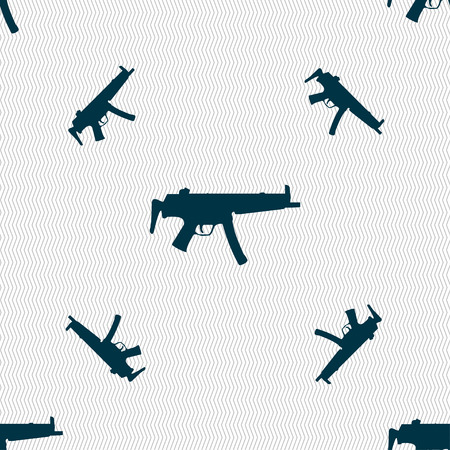 war paint: machine gun icon sign. Seamless pattern with geometric texture. illustration