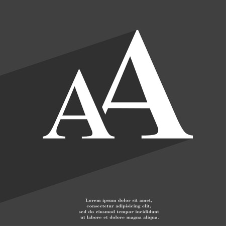font design: Enlarge font, AA icon symbol Flat modern web design with long shadow and space for your text. illustration