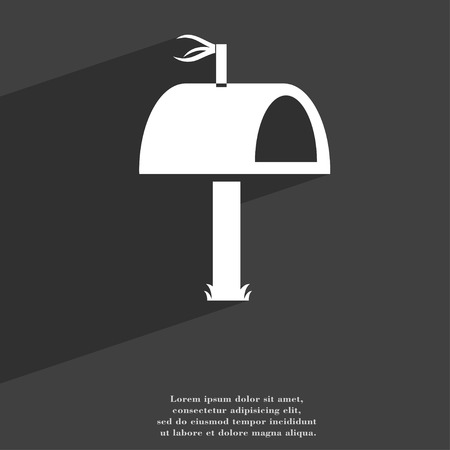 media distribution: Mailbox icon symbol Flat modern web design with long shadow and space for your text. illustration Stock Photo