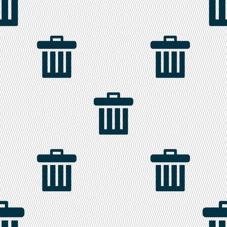papelera de reciclaje: Recycle bin icon sign. Seamless pattern with geometric texture. illustration Foto de archivo