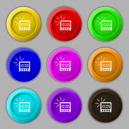 digital clock: digital Alarm Clock icon sign. symbol on nine round colourful buttons. illustration