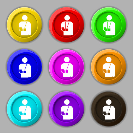 broken arm: broken arm, disability icon sign. symbol on nine round colourful buttons. illustration