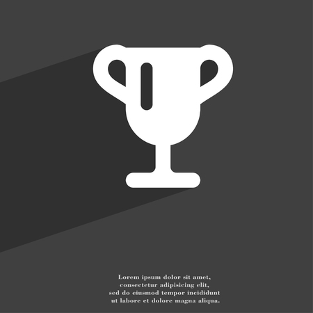 awarding: Winner cup, Awarding of winners, Trophy icon symbol Flat modern web design with long shadow and space for your text. illustration