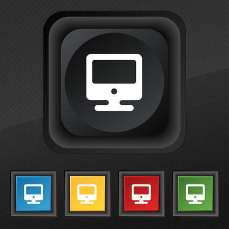 incrustation: monitor icon symbol. Set of five colorful, stylish buttons on black texture for your design. illustration Stock Photo