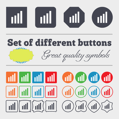 wireless signal: Mobile signal sign. Wi fi symbol. Wireless Network icon. Wifi zone. Big set of colorful, diverse, high-quality buttons. illustration