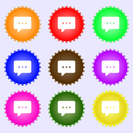 halfone: Cloud of thoughts icon sign. A set of nine different colored labels. illustration Stock Photo
