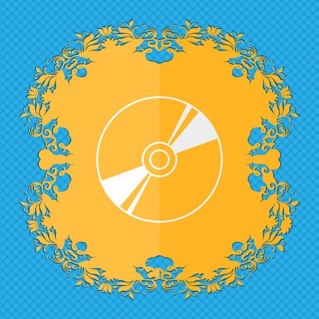 Cd, DVD, compact disk, blue ray. Floral flat design on a blue abstract background with place for your text. illustration