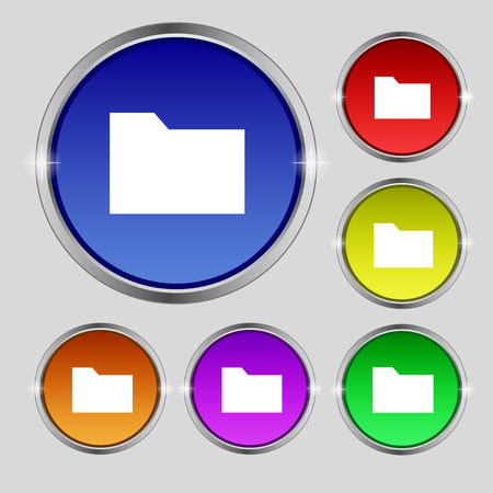 map case: Document folder icon sign. Round symbol on bright colourful buttons. illustration