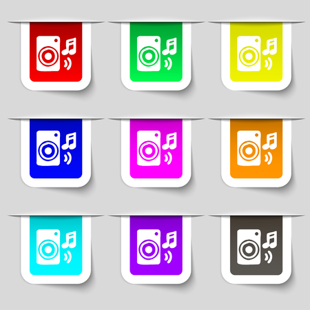 volume glow light: music column, disco, music, melody, speaker icon sign. Set of multicolored modern labels for your design. illustration