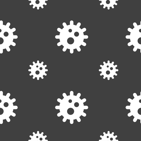 naval: naval mine icon sign. Seamless pattern on a gray background. illustration