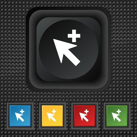 add icon: Cursor, arrow plus, add icon sign. symbol Squared colourful buttons on black texture. illustration Stock Photo