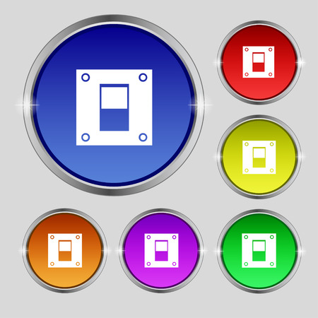 power switch: Power switch icon sign. Round symbol on bright colourful buttons. illustration