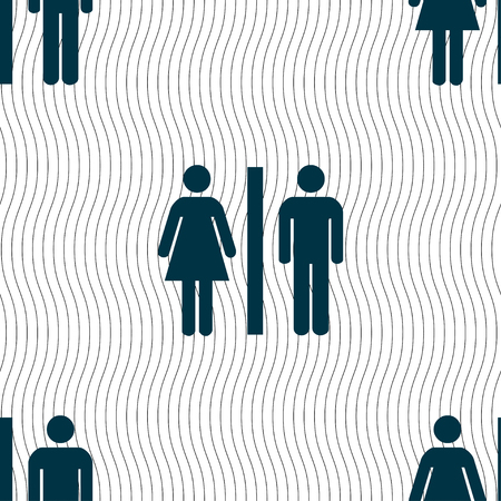 gents: silhouette of a man and a woman icon sign. Seamless pattern with geometric texture. illustration