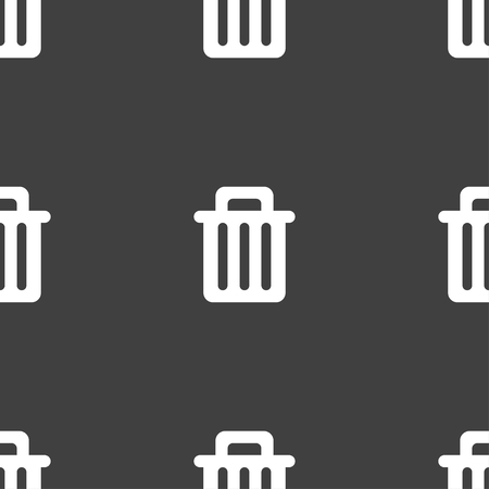 utilize: Recycle bin icon sign. Seamless pattern on a gray background. illustration