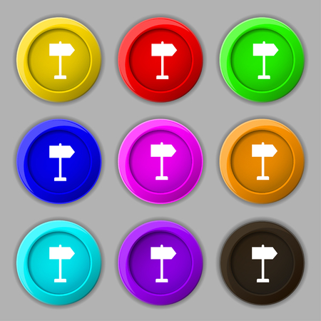 designator: Signpost icon sign. symbol on nine round colourful buttons. illustration