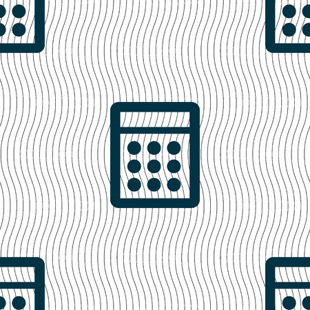 calc: Calculator sign icon. Bookkeeping symbol. Seamless pattern with geometric texture. illustration