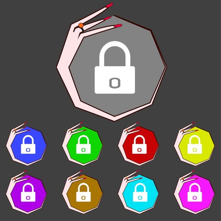 locker: Lock sign icon. Locker symbol. Set colur buttons. illustration