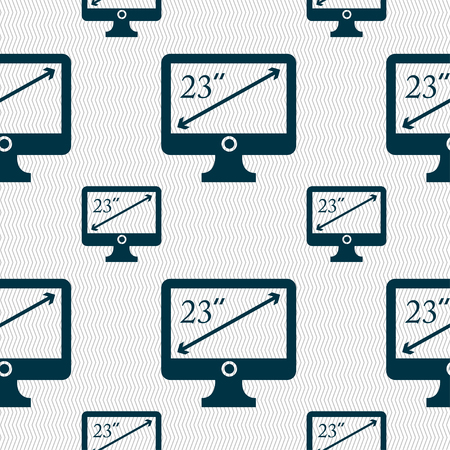 inches: diagonal of the monitor 23 inches icon sign. Seamless pattern with geometric texture. illustration Stock Photo