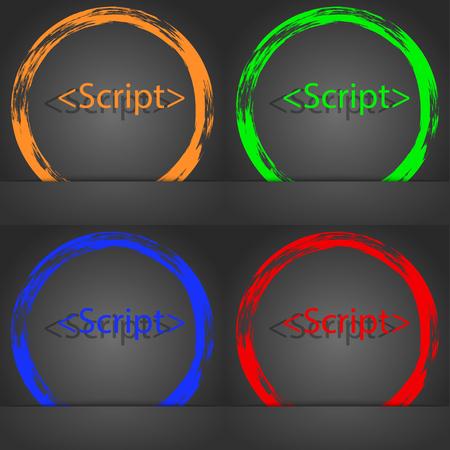 js: Script sign icon. Javascript code symbol. Fashionable modern style. In the orange, green, blue, red design. illustration