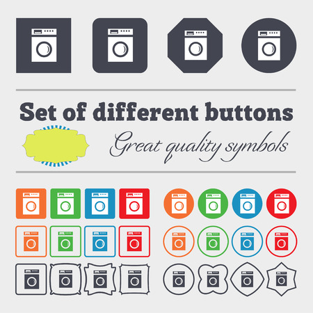 washhouse: washing machine icon sign. Big set of colorful, diverse, high-quality buttons. illustration Stock Photo