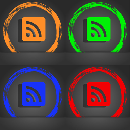 rss feed icon: RSS feed icon symbol. Fashionable modern style. In the orange, green, blue, green design. illustration