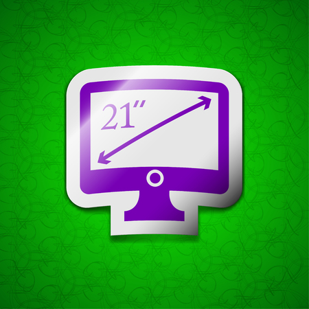 inches: diagonal of the monitor 21 inches icon sign. Symbol chic colored sticky label on green background. illustration