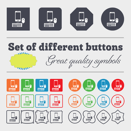 keyboard and mouse: smartphone widescreen monitor, keyboard, mouse sign icon. Big set of colorful, diverse, high-quality buttons. illustration Stock Photo