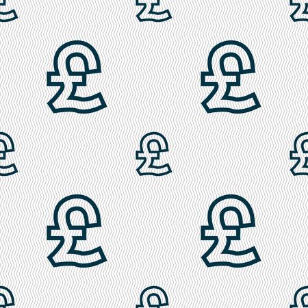 sterlina: Sterlina icona segno. Seamless pattern con struttura geometrica. illustrazione
