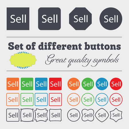 contributor: Sell sign icon. Contributor earnings button. Big set of colorful, diverse, high-quality buttons. illustration Stock Photo