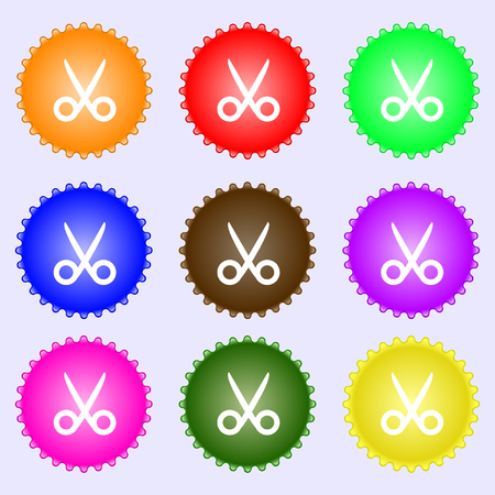 disclosed: Scissors hairdresser sign icon. Tailor symbol. A set of nine different colored labels. illustration Stock Photo