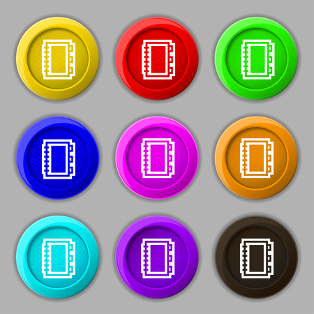 Book icon sign. symbol on nine round colourful buttons. illustration Stock Photo