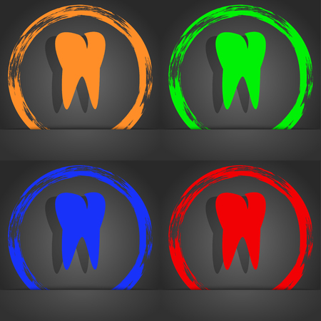cavity braces: tooth icon. Fashionable modern style. In the orange, green, blue, red design. illustration Stock Photo