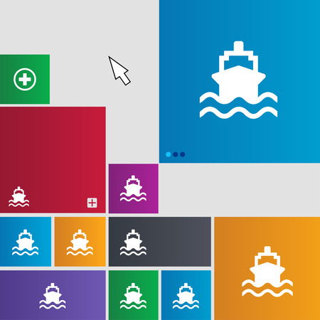 brigantine: ship icon sign. Metro style buttons. Modern interface website buttons with cursor pointer. illustration Stock Photo